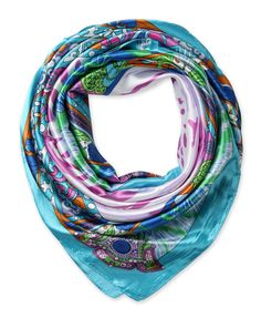 "Corciova®  35"" Silk-like Big Square Scarf 35 x 35 (Totems lilac light blue background)"