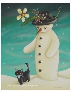 Winter Walk - 8X10 Print of Snowman with Tuxedo Cat via Etsy. Susan R. Boerman