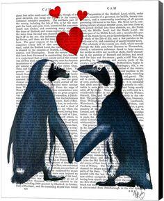 Penguins in love - Penguin art print penguin gift for valentine gift for lovers romantic gift for girlfriend Valentines gift for her wife Penguin Art, Penguin Love, Penguin Drawing, Valentine Gifts For Girlfriend, Love Valentines, Pinguin Illustration, Illustration Art, Love Dictionary, Penguin Pictures