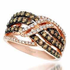 Le Vian 0.99 Carat Chocolate and White Diamond Cross Over 14K Strawberry Gold Ring