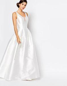 vestido de noiva barato low cost da asos estilo princesa com decote ilusao 1