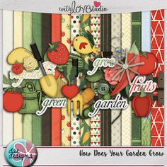 How Does Your Garden Grow - digital scrapbooking kit from Dae Designs. Are you an avid gardener? Or maybe you want to be? Or maybe you just love your fruits and veggies. No matter the case, this kit will be able to showcase all those memories for you! Whether you're showing off your gardening love, or getting in those daily servings of fruits and veggies, this kit is for you!