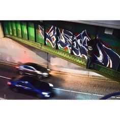 BUGE IN ACTION Photo by : @ac_in_ca _______________________ #madstylers #graffiti #graff #style #pure #madness #stylewriting #night #sprayart #graffitiart #unstoppable #action