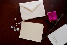 Stationery Cards / Deckle Metallic Pink Edge flat cards on Etsy, $6.00