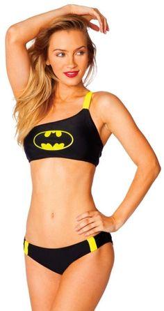 ef4c155ccb New BatGirl Bikini One Shoulder Bandeau W  Low Rise Bottoms Black Logo DC  Comics