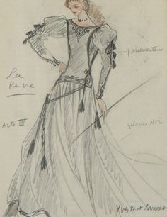 1978 - Yves Saint Laurent costume sketch for Genevieve Page as 'the Queen' in Jean Cocteau play 'l'Aigle a 2 têtes'