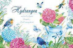 hydrangea watercolor clipart By Clipart Shop