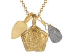 Me&Ro 10K Gold Om Flower Trinket Pendant with Labradorite