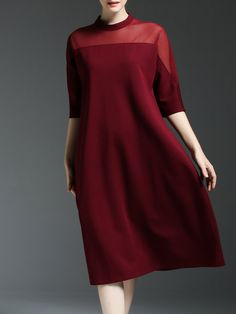 Wine Red Paneled Stand Collar Half Sleeve Shift Midi Dress