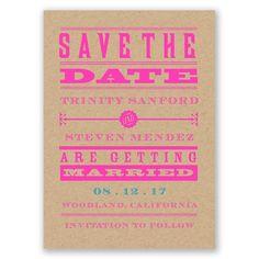 Bold Love Save the Date Card by David's Bridal #savethedate #weddings #pinkwedding