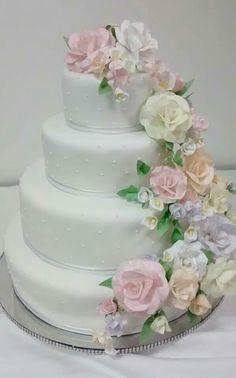 Torta matrimonio flores pastel