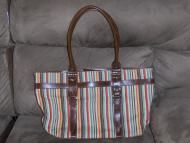 Price $14.97  Liz Claiborne brand multi color tote bag. Great for you office gals, I even think a lap top would fit in here very well. Great for holdi...