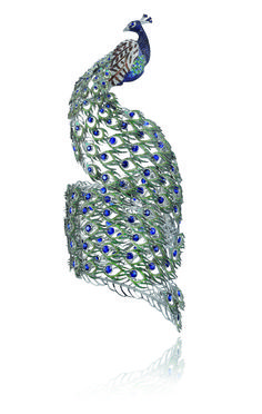 Chopard peacock bracelet. The 18k white gold cuff is set with diamonds (in…