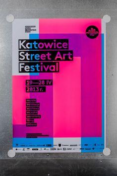 Katowice Street Art Festival – silkscreen poster series by Marta Gawin, via Behance Flat Design Poster, Print Design, Event Poster Design, Web Design, Type Design, Poster Designs, Festival Posters, Festival Flyer, Design Festival