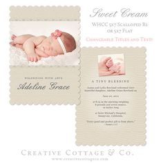 Sweet Cream, 5x7 Scalloped B2 (WHCC) Flat Vintage Card Template for Graduation, Birth and Any Occassion Announcements.