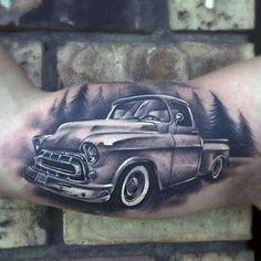 60 Truck Tattoos For Men - Vintage and Big Rig Ink Design Ideas Car Tattoos, Sleeve Tattoos, Tatoos, Tattoo Sleeves, Forearm Tattoos, Chicano, Future Tattoos, Tattoos For Guys, Hot Rod Tattoo