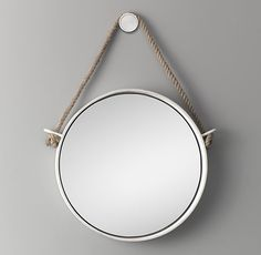 Iron and Rope Mirror - White
