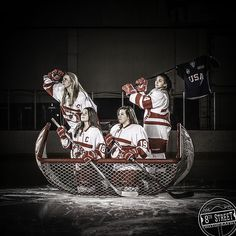 Willmar, girls, hockey, boat, 8th Street Photography, boat, ice