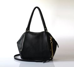 Soft Leather bag - Opelle Liria bag in Black pebbled leather NEW fw2013