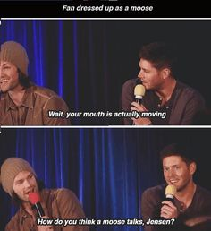 J2 respond to a fan dressed up as a moose... Can I go to one of these already?! My life would be complete.