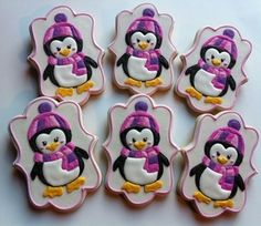Super cute Penguin Cookies - by Sweet C Bake Shop Christmas Tree Cookies, Cute Cookies, Christmas Cookies, Snow Cookies, Cookie Frosting, Royal Icing Cookies, Cupcakes, Cupcake Cakes, Penguin Cakes