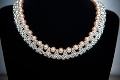 Sterling silver Byzantine mail collar beaded with cream pearls between the crenellations