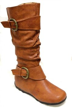 Top Moda Best-80 Women's non-slip sole round toe slouchy shaft with two wide buckled straps side zipper knee high boots -- Click image to review more details.