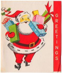 Vintage Christmas card with Santa. A Pollyanna card.
