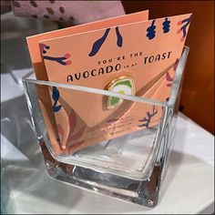 """""""You are the Avocado to my Toast"""" is the obvious visual theme to this Avocado-Toast Charm Whiskey-Glass Bulk-Bin offering Avocado Puns, Avocado Toast, Retail Fixtures, Retail Merchandising, Glass Containers, Rock Style, Natural Wood, Wood Signs, Whiskey"""