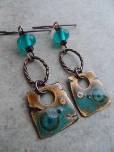 RESERVED Twist & Shout ... Enameled Copper Lampwork and Copper Wire-Wrapped Rustic Boho Earthy Southwest Earrings (48.00 USD) by juliethelen - handmade - jewelry - jewellery - artisan - etsy
