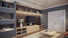 Built in Wall Unit Designs | modern built in wall shelving units with television sets on the bright ...