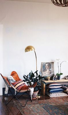 Nice mix of natural textures + boho palette + pop of gold.