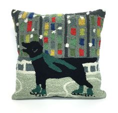 Frontporch Holiday Ice Dog Green Pillows