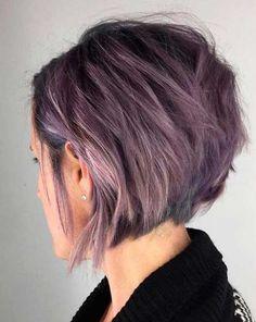 New short bob haircuts short pastel purple - Hair Styles Graduated Bob Hairstyles, Short Graduated Bob, Hairstyles 2018, Woman Hairstyles, Graduated Bob With Fringe, Funky Bob Hairstyles, Graduated Haircut, Long Bob, Natural Hairstyles