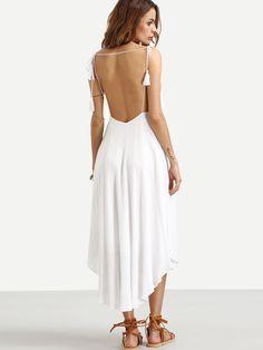 c26fa89460e7 White Spaghetti Strap Tassel Backless Asymmetrical Dress -SheIn(Sheinside)  White Shop