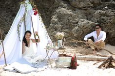 Nikki and Jade love the outdoors and are quite adventurous. No doubt that they chose Fortune Island in Nasugbu, Batangas as their prenup loc. Beach Engagement, Engagement Session, Batangas, Jade, Boho, Wedding Dresses, Outdoor Decor, Ideas, Fashion