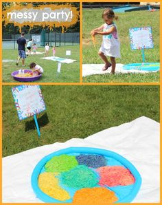 rainbow spaghetti fight :: messy party by little pink monster