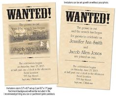 Wanted poster wedding invitations with or without photo. Great for a barn or country themed wedding.