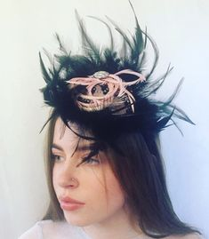 "Jennifer on Instagram: ""Marie modeling my Black Feather Headpiece like a pro!💗🌞🌸✨as with all my headpieces it took hours to hand make 🤲🏻1-2 days delivery 🚚 love…"" Feather Headpiece, Feather Hat, Black Feathers, My Black, Headpieces, Modeling, Halloween Face Makeup, Delivery, Take That"