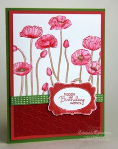 Stampin' Up! Pleasant Poppies Birthday Card  http://www.elainescreations.blogspot.com/2012/06/pleasant-poppies-birthday-card.html