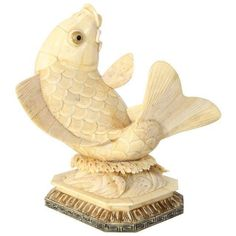 Asian Carved-Bone Sculpture of a Koi Fish on Chairish.com