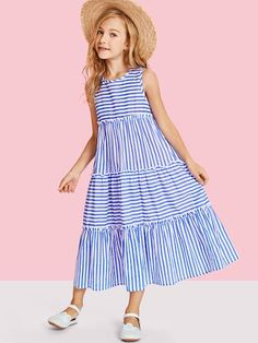 To find out about the Girls Tiered Mixed Striped Sleeveless Dress at SHEIN, part of our latest Girls Dresses ready to shop online today! Frocks For Girls, Dresses Kids Girl, Kids Outfits, Kids Frocks, Swag Outfits, Baby Girl Dress Patterns, Baby Dress Design, Frock Design, Baby Girl Fashion