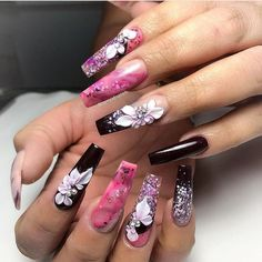 21 Elegant Coffin Acrylic Nails Design You Should Try Right Now - Polish and Pearls - 21 Elegant Design Coffin Acrylic Nails You Should Try Right Now – Acrylic Coffin Nails with Flowe - Flower Nail Designs, Flower Nail Art, Colorful Nail Designs, Beautiful Nail Designs, Acrylic Nail Designs, Nail Art Stripes, Striped Nails, Glam Nails, 3d Nails