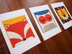 Set of 3 x Lion, Fox and Owl retro- modern signed children's Illustration prints by Rebecca Elliott on Etsy, Fox Boy, Baby Mine, Mini Canvas Art, Art For Art Sake, Nursery Inspiration, Nursery Art, Nursery Ideas, Modern Prints, Graphic Design Illustration