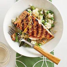 Salmon with Quick Spring Risotto Recipe | MyRecipes.com