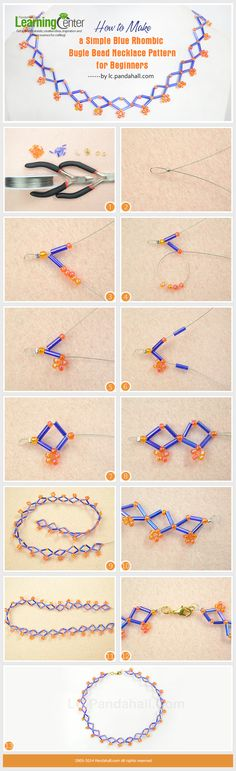 How to Make a Simple Blue Rhombic Bugle Bead Necklace Pattern for Beginners