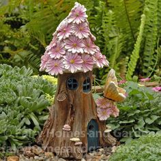 Small Spring Petals Lighted Fairy House