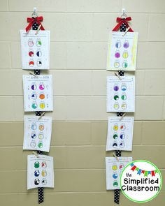First grade hallway display with ribbons and clothespins! It's SO easy to display student work! Teaching First Grade, First Grade Teachers, Classroom Setup, Classroom Organization, Classroom Hacks, Classroom Displays, Classroom Resources, Kindergarten Classroom, Hanging Student Work