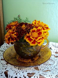 teacup and fall flowers