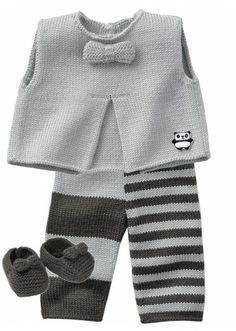 Knitting Ideas for Babies – Babykleidung Knitting For Kids, Baby Knitting Patterns, Baby Patterns, Knitting Ideas, Crochet Patterns, Baby Vest, Baby Cardigan, Baby Outfits, Kids Outfits
